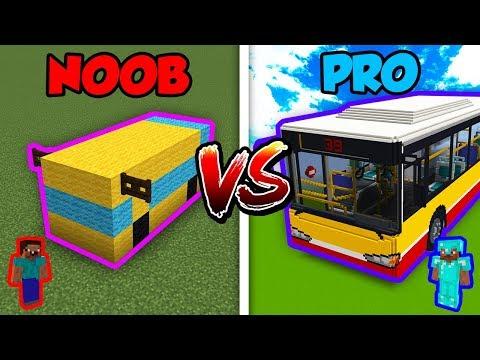 Minecraft Noob Vs Pro Bus In Minecraft Minecraft Videos