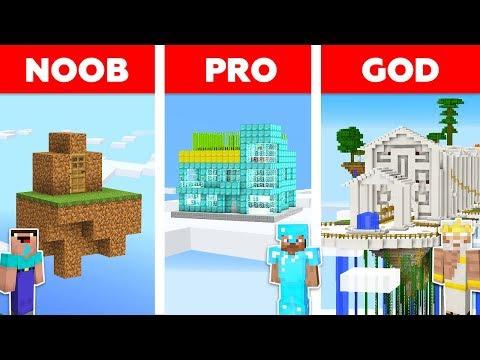Minecraft Noob Vs Pro Vs God Sky Secret Base Challenge In