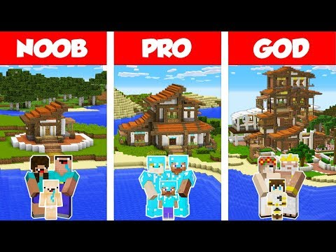 Minecraft Noob Vs Pro Vs God Tropical Family House Build Challenge In Minecraft Animation Minecraft Videos