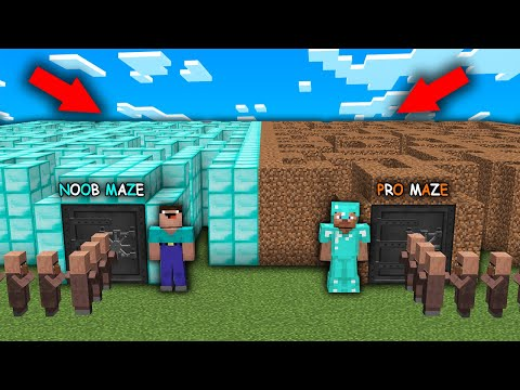 Minecraft Noob Vs Pro Noob Opened His Secret Maze Vs Pro Secret Maze In The Village Minecraft Videos