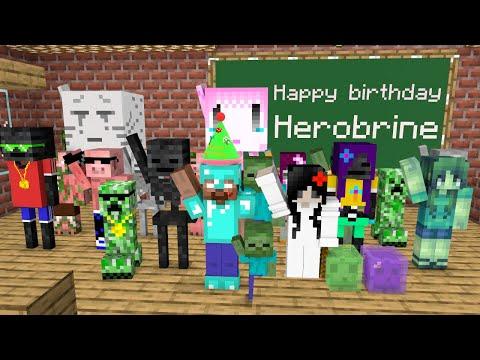 Monster School Herobrine Birthday Funny Minecraft Animation Minecraft Videos